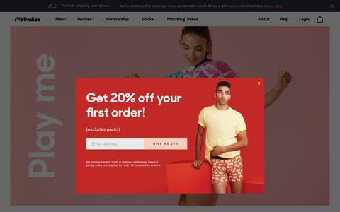 Screenshot of About Page meundies.com - MeUndies | The World's Most Comfortable Underwear for Men & Women - MeUndies - captured May 29, 2018