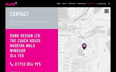 Screenshot of Contact Page dunkdesign.co.uk - Contact us – Dunk Design Ltd - captured Feb. 9, 2016