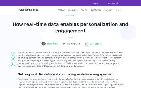 Screenshot of Press Page snowplowanalytics.com - How real-time data enables personalization and engagement - captured Feb. 10, 2020
