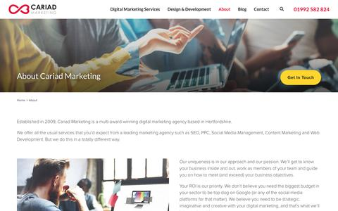 Screenshot of About Page cariadmarketing.com - Digital Marketing Agency Hertford | Cariad Marketing Ltd - captured Sept. 12, 2019