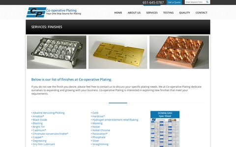 Screenshot of Services Page coopplating.com - Industrial Finishes | Co-operative Plating | Welcome to Cooperative Plating - captured Oct. 2, 2014