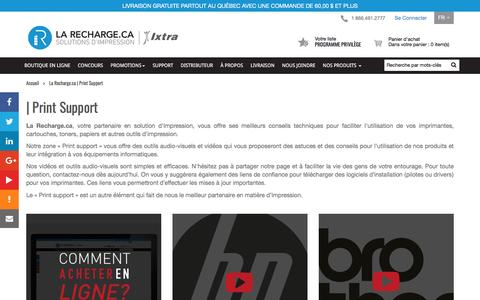 Screenshot of Support Page larecharge.ca - La Recharge.ca | Print Support | La Recharge.ca - captured March 2, 2017