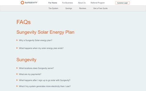 Screenshot of FAQ Page sungevity.com - Solar Energy Facts, How Solar Panels Work - FAQs - Sungevity - captured Aug. 21, 2019