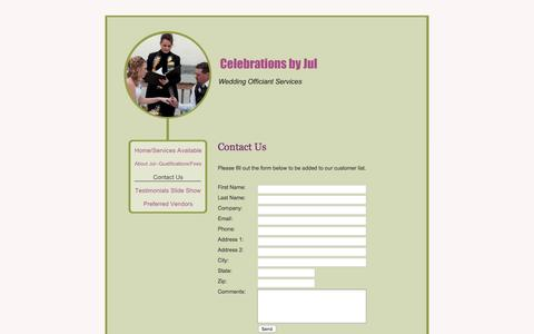 Screenshot of Contact Page celebrationsbyjul.com - Celebrations by Jul - Contact Us - captured Dec. 7, 2015