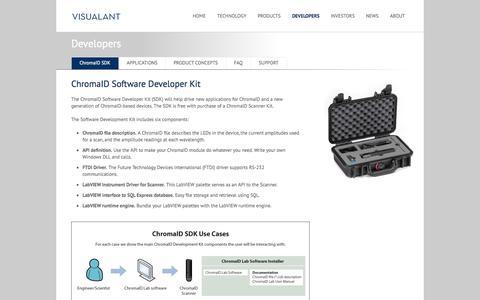 Screenshot of Developers Page visualant.net - Visualant - Developers - - captured Sept. 12, 2014