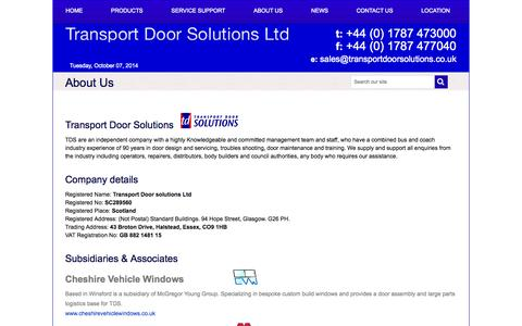 Screenshot of About Page transportdoorsolutions.co.uk - About Us | Transport Doors Solutions - captured Oct. 7, 2014