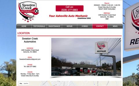 Screenshot of Contact Page Maps & Directions Page ashevillemechanic.com - Contact Sweeten Creek Auto Repair - Your Asheville Mechanic - captured April 24, 2017
