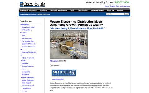 Screenshot of Case Studies Page cisco-eagle.com - Mouser Electronics expanded distribution center conveyor system - captured Jan. 5, 2017