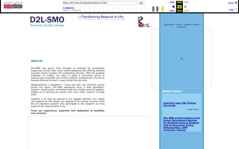 Screenshot of About Page archive.org - D2l SMO | Site Management Organization for Clinical Trials in INDIA - About Us - captured Oct. 10, 2014
