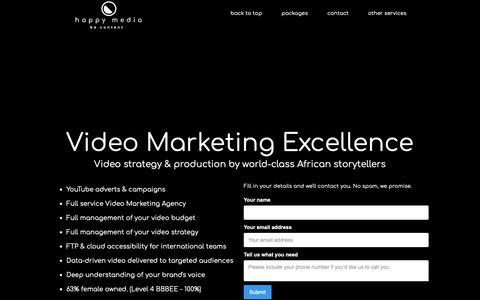 Screenshot of Home Page happymedia.co.za - Video Marketing Royalty - captured Nov. 27, 2018