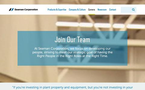 Screenshot of Jobs Page seamancorp.com - Join Our Team | Seaman Corporation - captured Jan. 27, 2016