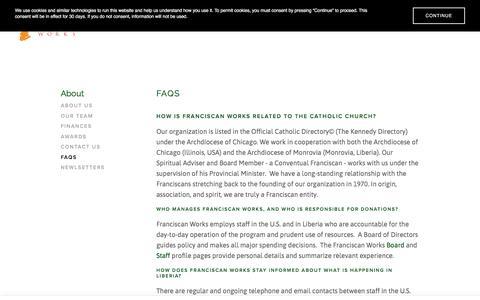 Screenshot of FAQ Page franciscanworks.org - FAQs — Franciscan Works - captured Aug. 21, 2018