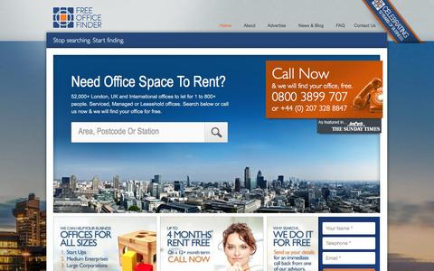 Screenshot of Home Page freeofficefinder.com - London & UK Office Space To Let. 1000's Listed - captured Sept. 19, 2014