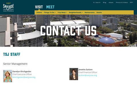 Screenshot of Contact Page sanjose.org - Contact Us | Visit San Jose - captured Oct. 2, 2018