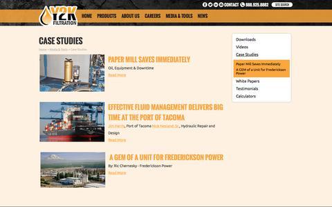 Screenshot of Case Studies Page y2kfiltration.com - Case Studies - Y2K Filtration - captured July 25, 2018