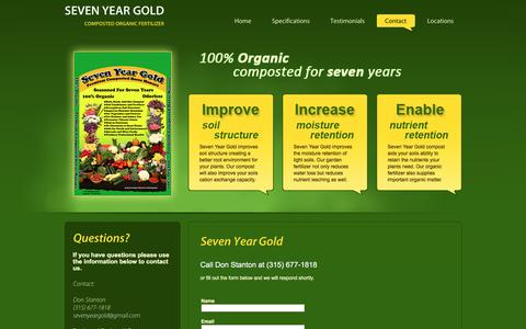 Screenshot of Contact Page sevenyeargold.com - Buy Bagged Organic Compost Online | Horse Manure For Sale - captured June 15, 2016