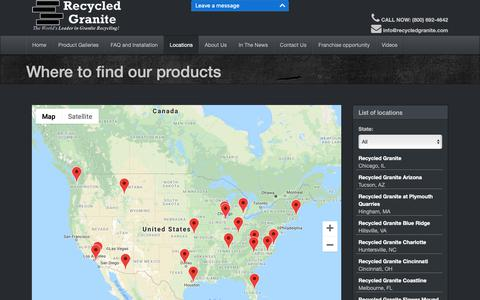 Screenshot of Locations Page recycledgranite.com - Recycled Granite - Where to find our products - captured Nov. 16, 2018