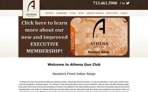 Screenshot of Home Page athenagunclub.com - Shooting Range Houston, TX Gun Club| Athena Gun Club | Athena Gun Club - captured Sept. 30, 2014