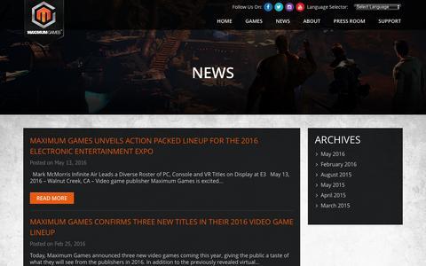 Screenshot of Press Page maximumgames.com - News - captured June 9, 2016