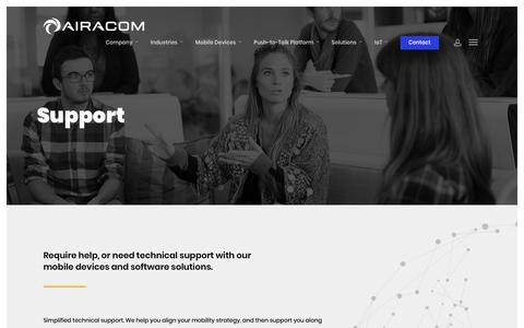 Screenshot of Support Page airacom.com - Simplified Technical Support, Consultancy and Project Management - captured Dec. 18, 2018