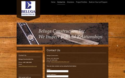Screenshot of Contact Page belugaconstruction.com - Beluga Construction - Contact Us - captured Nov. 3, 2014
