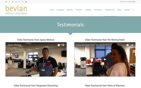 Screenshot of Testimonials Page bevlan.com - Office Furniture Showroom | Testimonials - captured Oct. 5, 2018