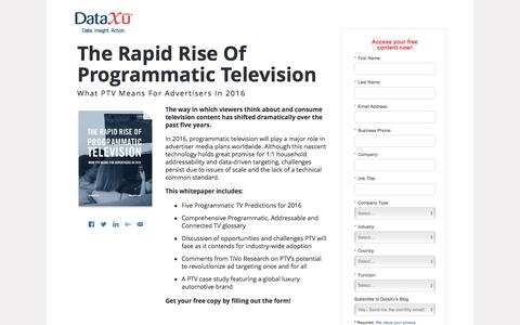 Screenshot of Landing Page dataxu.com - Rapid Rise of Programmatic Television For Advertisers 2016 - captured Aug. 17, 2016