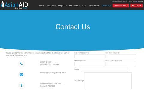 Screenshot of Contact Page asianaid.org - Contact Us | Asian Aid USA - captured Nov. 21, 2016