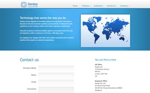 Screenshot of Contact Page gentay.co.uk - Gentay - Innovative Enterprise Products and Systems - captured Oct. 2, 2014