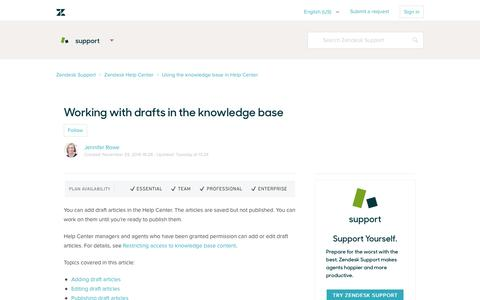 Screenshot of Support Page zendesk.com - Working with drafts in the knowledge base – Zendesk Support - captured Feb. 27, 2017
