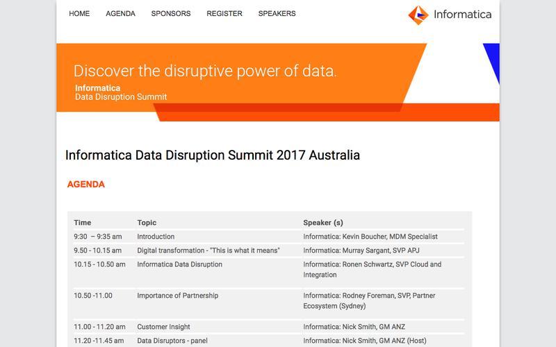 Informatica Data Disruption Summit |