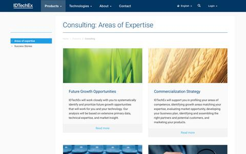 Screenshot of Services Page idtechex.com - Consulting: Areas of Expertise - captured June 27, 2019