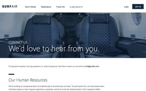 Screenshot of Contact Page surfair.com - Surf Air | Official Site | Contact | - captured Nov. 18, 2015
