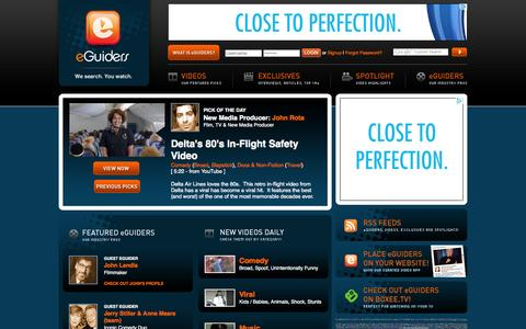 Screenshot of Home Page eguiders.com - eGuiders - Online Internet Video Clips and Exclusives Video Highlights - We Search. You Watch. - captured Oct. 3, 2014