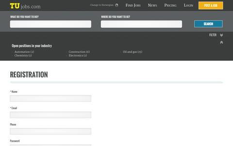 Screenshot of Signup Page tujobs.com - Registration - captured Sept. 30, 2014