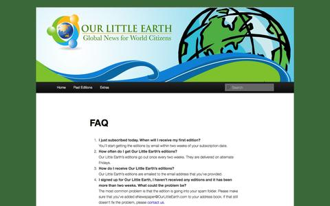 Screenshot of FAQ Page ourlittleearth.com - FAQ   Our Little Earth - captured Oct. 9, 2014