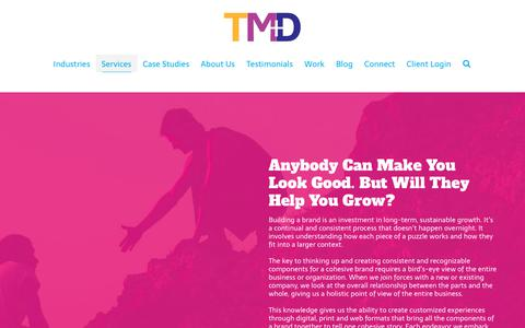 Screenshot of Services Page trontz.com - Services Overview   Trontz Integrated Marketing + Design Studio   TMD - captured March 2, 2019