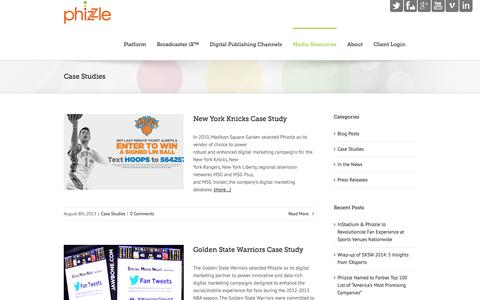 Screenshot of Case Studies Page phizzle.com - Phizzle   –  Case Studies - captured Sept. 12, 2014