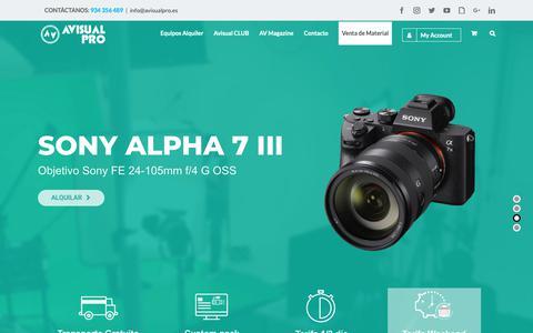 Screenshot of Home Page avisualpro.es - Avisual PRO | Alquiler de material audiovisual profesional | Barcelona - captured Nov. 6, 2018