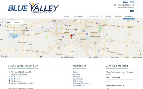 Screenshot of Contact Page bvia.com - Contact Blue Valley Insurance Agency - captured Oct. 10, 2017