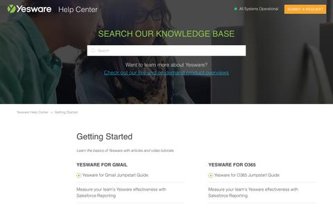 Screenshot of Support Page yesware.com - Getting Started – Yesware Help Center - captured July 12, 2019