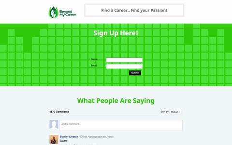 Screenshot of Signup Page beyondmycareer.com - Sign Up! -- Beyond My Career - captured Jan. 15, 2017