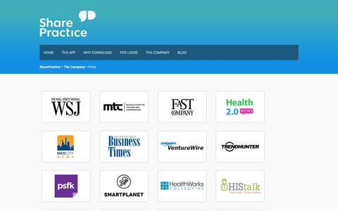 Screenshot of Press Page sharepractice.com - Press - SharePractice - captured Sept. 13, 2014