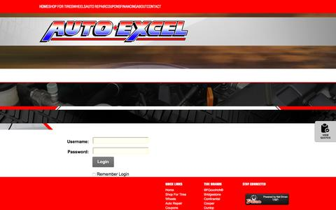 Screenshot of Login Page autoexcel.com - User Log In - captured July 31, 2018