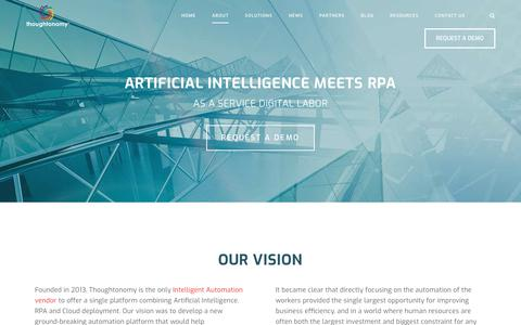 Screenshot of About Page thoughtonomy.com - Intelligent Automation Vendor | AI, RPA & Cloud | Thoughtonomy - captured July 18, 2019