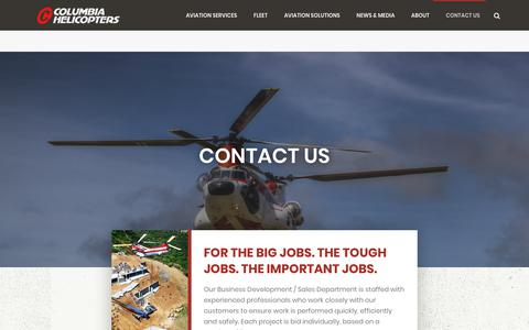 Screenshot of Contact Page colheli.com - Contact Columbia Helicopters | Sales, Service, Support | Email, Phone, Call | Columbia Helicopters - captured Sept. 29, 2018