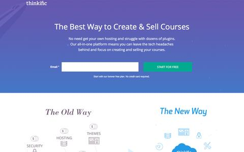 Screenshot of Landing Page thinkific.com - The best way to sell courses - Thinkific - captured Feb. 3, 2017