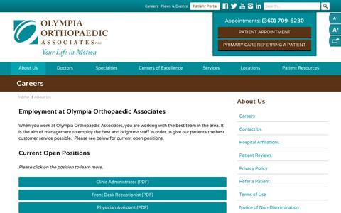 Screenshot of Jobs Page olyortho.com - Careers | Olympia Orthopaedic Associates - captured Nov. 19, 2018