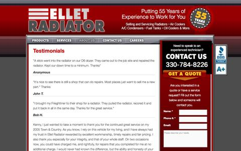 Screenshot of Testimonials Page elletradiator.com - Testimonials | Ellet Radiator - captured Oct. 2, 2014