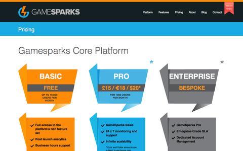 Screenshot of Pricing Page gamesparks.com - Pricing | Game Sparks - captured Sept. 19, 2014